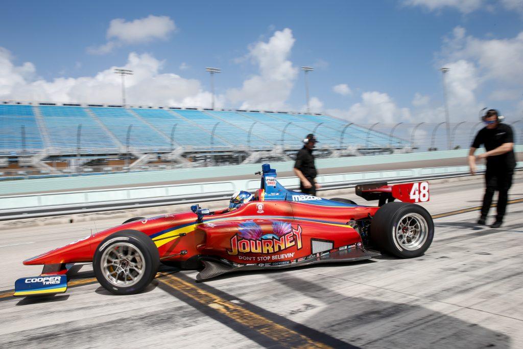 [Indy Lights] Ryan Norman lideró los tiempos en el óvalo de Miami